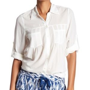 Joie Pinot Crinkled White Button Up Shirt